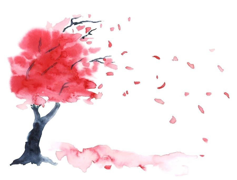 Beautiful Red Tree Painting Water color paint