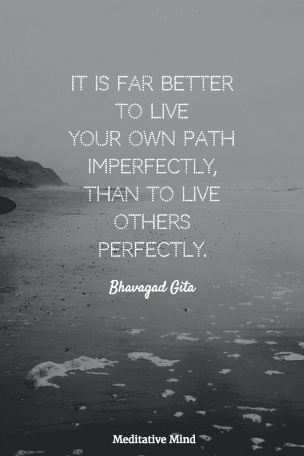 It is far better to live your own path imperfectly, than to live others perfectly.